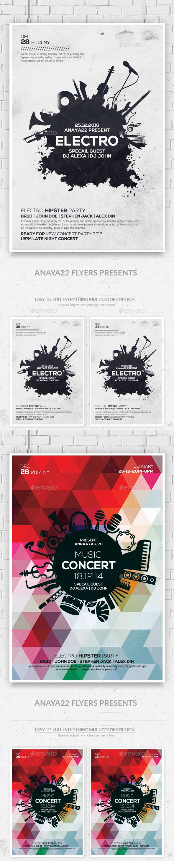 Electro Music Flyers Bundle — Photoshop PSD #club cmyk #night • Available here → https://graphicriver.net/item/electro-music-flyers-bundle/13487842?ref=pxcr