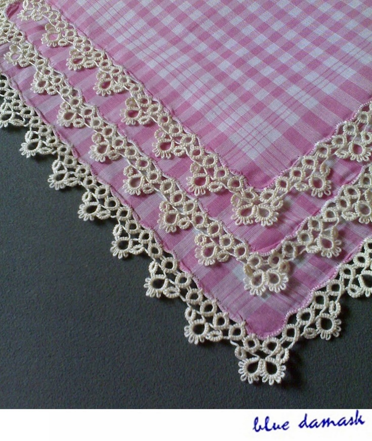 Needle Tatting Instructions | House of Blue Damask: Tatting Project: Pink Gingham Handkerchief