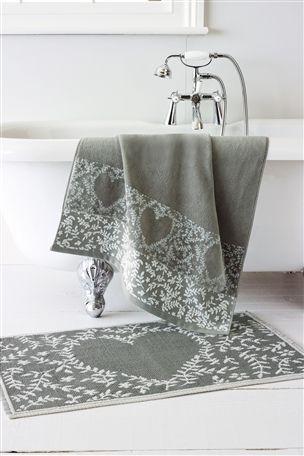 Grey Heart Bath Linen Towel and Bath Matt #mycosyhome