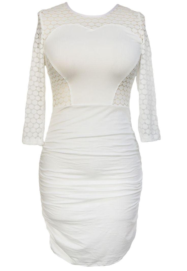 Robes Moulantes Blanc O Anneau evider Retour Robe Froncee Pas Cher www.modebuy.com @Modebuy #Modebuy #Blanc #Blanc #sexy #me