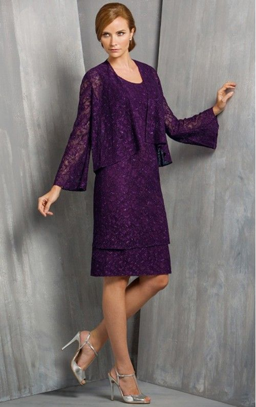 Sheath Jewel Knee-length Lace Mother of the Bride Dresses