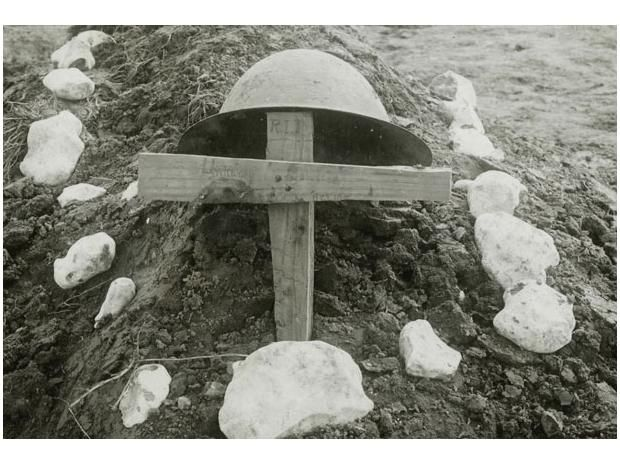The makeshift grave of a Canadian soldier, buried on the battlefield at Vimy Ridge in 1917 by his comrades.