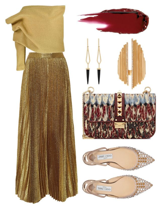 """""""Office Holiday Party"""" by dominosfalldown ❤ liked on Polyvore featuring Alice + Olivia, Jimmy Choo, Valentino, Monique Péan, gold, metallic, pleatedskirt and offshoulder"""