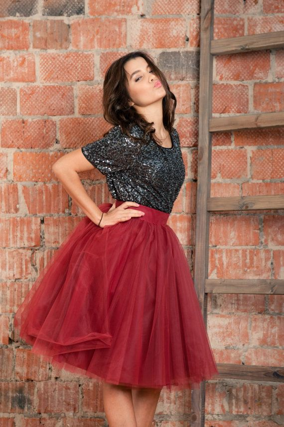 BORDEUX Tulle Skirt. Red Tulle Skirt. by BowsAndTulle on Etsy