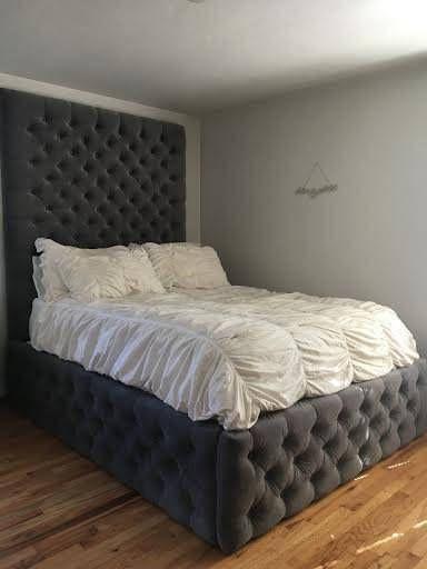 Velvet Diamond Tufted Headboard And Bed Frame Set King