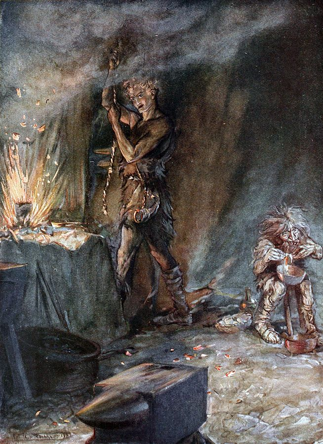 """The forging of Nothung (1911), lithograph by Arthur Rackham (1867-1939) [published in """"Siegfried & The Twilight of the Gods"""", facing page 34], from Act 1, Scene 3, of """"Siegfried"""" (1871), by Richard Wagner (1813-1883)."""