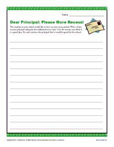 dear principal please more recess connor learning 4th grade writing prompts 4th grade. Black Bedroom Furniture Sets. Home Design Ideas
