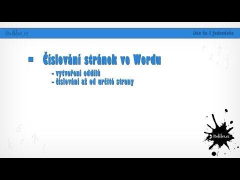 Číslování stránek ve wordu - YouTube
