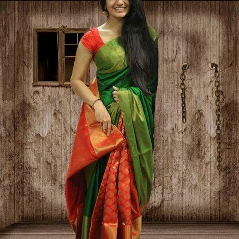 Poly Silk Green & Orange Printed Saree #Saree