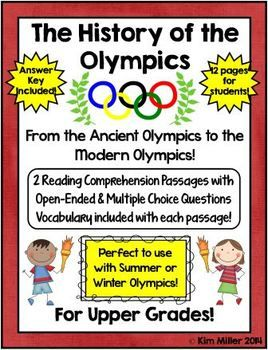 Compare and contrast the ancient Olympics to the modern Olympics!   The best thing about this product is that it can be used over and over with each Olympic event. Use it now and then again in 2 years with the Summer Games or in 4 years with the Winter Games (depending on your school calendar).  ***Also PERFECT for end of grade test prep practice!!!*** http://www.teacherspayteachers.com/Store/Kim-Miller-24