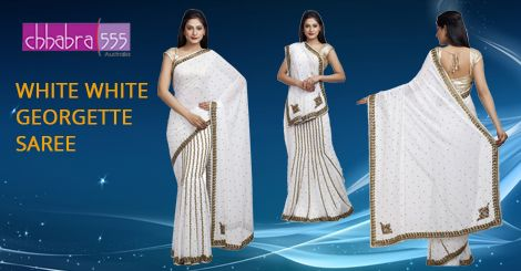 Addition of over 25 new designs every day, select White White ‪‎Georgette Saree‬ in @ $109.95 AUD from ‪Chhabra555‬ that will give you stunning look on any occasion in ‪Australia‬