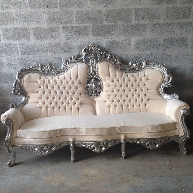Antique Italian Baroque Throne Ivory Champagne Creme Sofa Settee Couch Silver Leaf Gild Gold Tufted Rococo