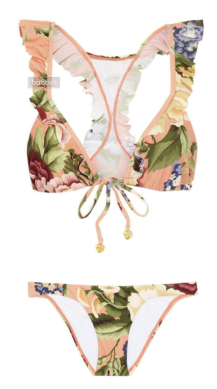 Zimmermann Elixir floral-print ruffled triangle bikini.