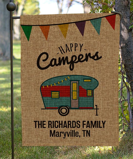 Burlap 'Happy Camper' Personalized Garden Flag
