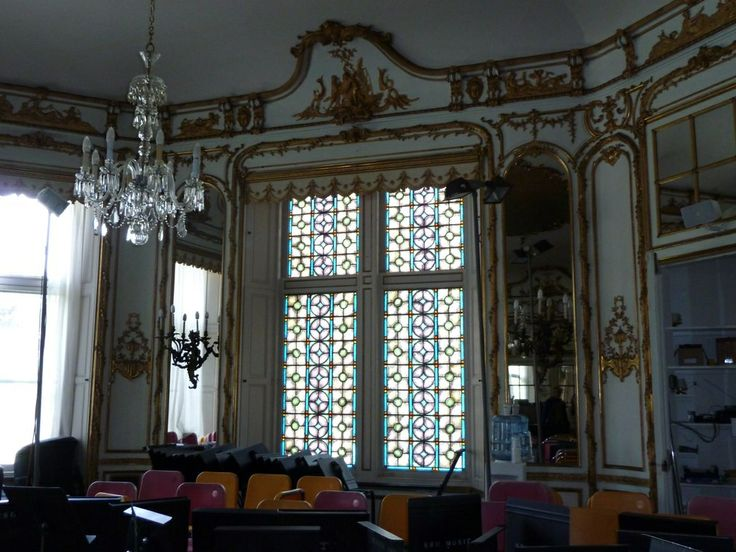 Ochre court the bayed west end of the ballroom the white and gold rococo