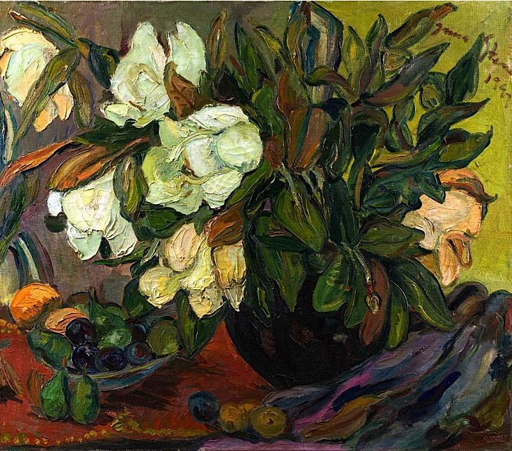 Irma Stern, Magnolias and Fruit