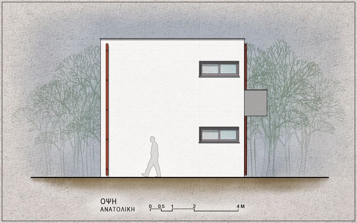 Standardised One-Family House Prototype 130 sqm, East Elevation - www.pzarch.gr