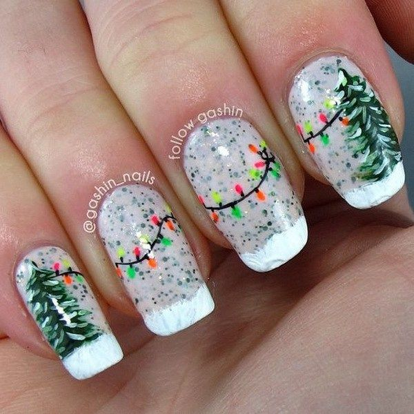 Green Christmas Tree and String Lights Manicure.                                                                                                                                                                                 More