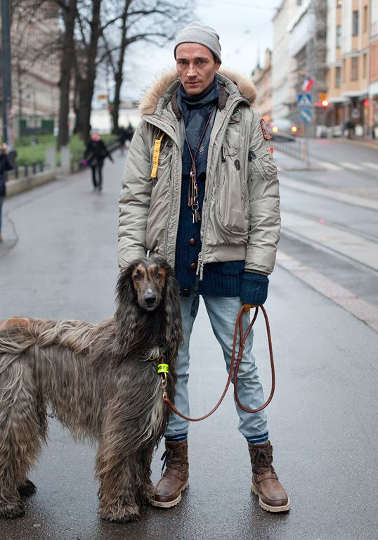 """""""My dog Simba dictates my look because I have to be weatherproof at all times. He's wearing fur he made himself and I'm wearing a Parajumpers jacket, Sorel boots and a Viktor & Rolf scarf. This morning sucked so I put on some Royal Trux and tried to dress like Jennifer Herrema."""""""