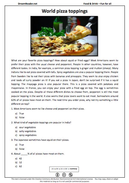 Free ESL worksheet all about pizza toppings! http://dreamreader.net/wp-content/uploads/2014/11/Pizza-FFA-Food-PDFReading1.pdf #esl #efl #learnenglish #tesol #elt #readingpractice