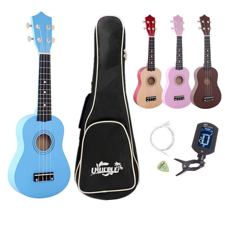 """21"""" four colour Ukulele Beginners Children Christmas Gifts Hawaii Four String Guitar + Bag+Tuner+String+Pick #Affiliate"""