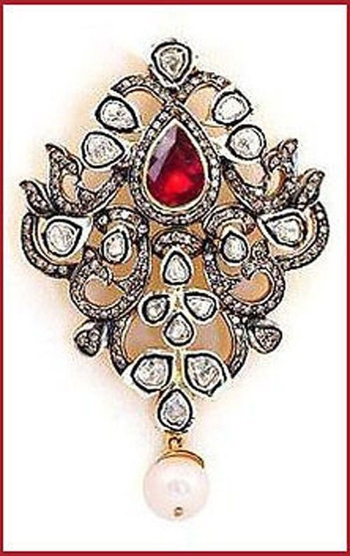 AWESOME VINTAGE STYLE PAVE ROSE/ANTIQUE DIAMOND & RUBY PENDANT/NECKLACE
