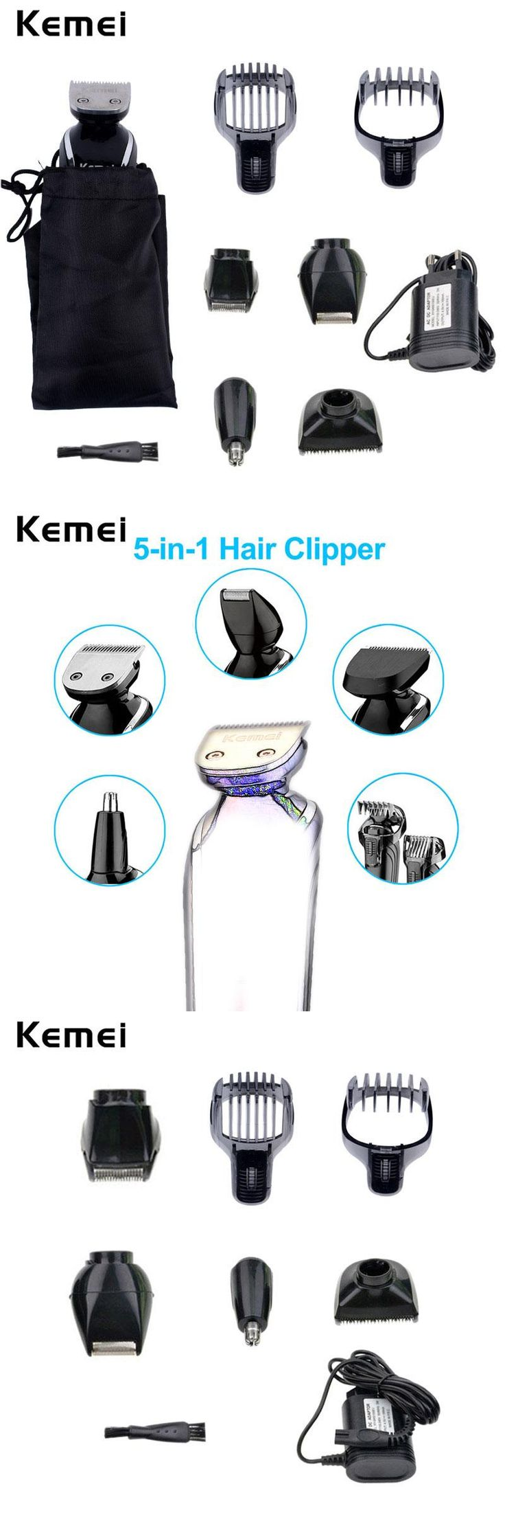 [Visit to Buy] Kemei 5 in 1 Waterproof Rechargeable Men's Hair Clipper Razor Nose Trimmer Electric Shaver Shaving Machine for Men Barbeador A45 #Advertisement