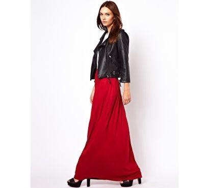 Czerwona spódnica maxi ASOS - Warehouse Column Maxi Skirt