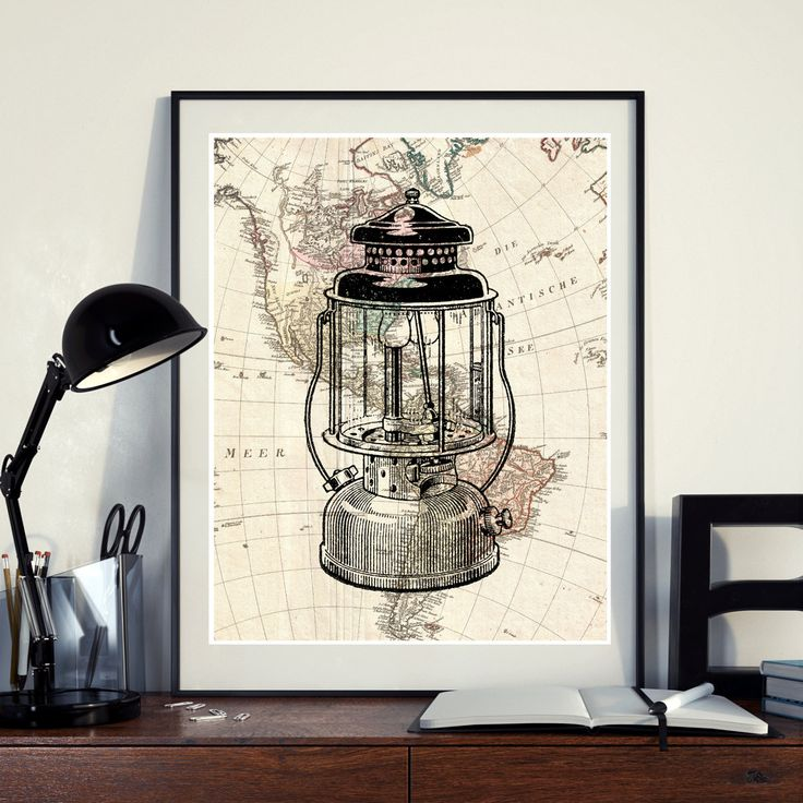Vintage Map North America Lantern Lamp Light Instant Download Printable A3 A4 Wall Art Print 11x14 8×10 DIGITAL DOWNLOAD jpg HQ300dp by ZikkiArt on Etsy