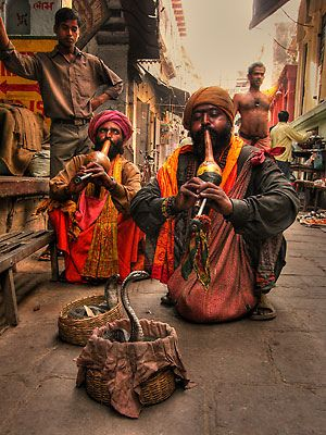 Snake charmers, Benares, India by Dunnners, via Flickr