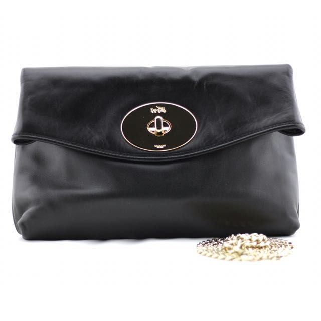 Coach Black Turnlock Clutch on Carousell