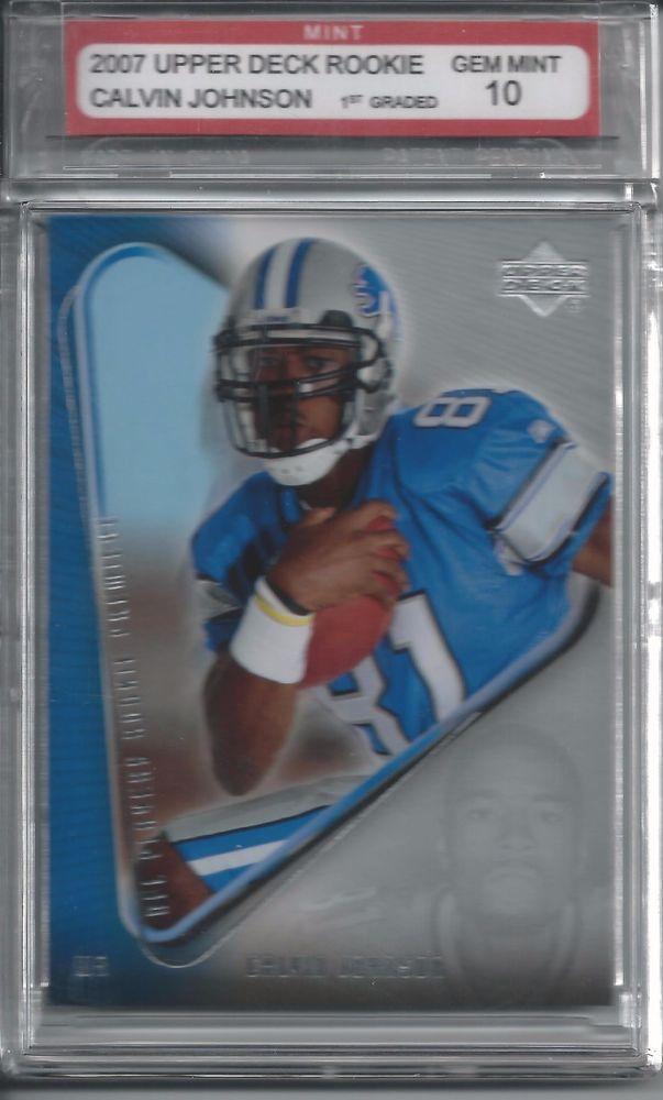 2007 Calvin Johnson Rookie Gem Mint 10 Football Card NFL  #DetroitLions