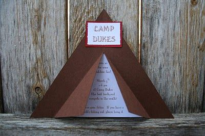 camp birthday invitation - would be cute to use for camp-themed scavenger hunt clues