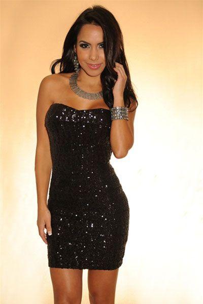 Black Sequined Strapless Mini Dress