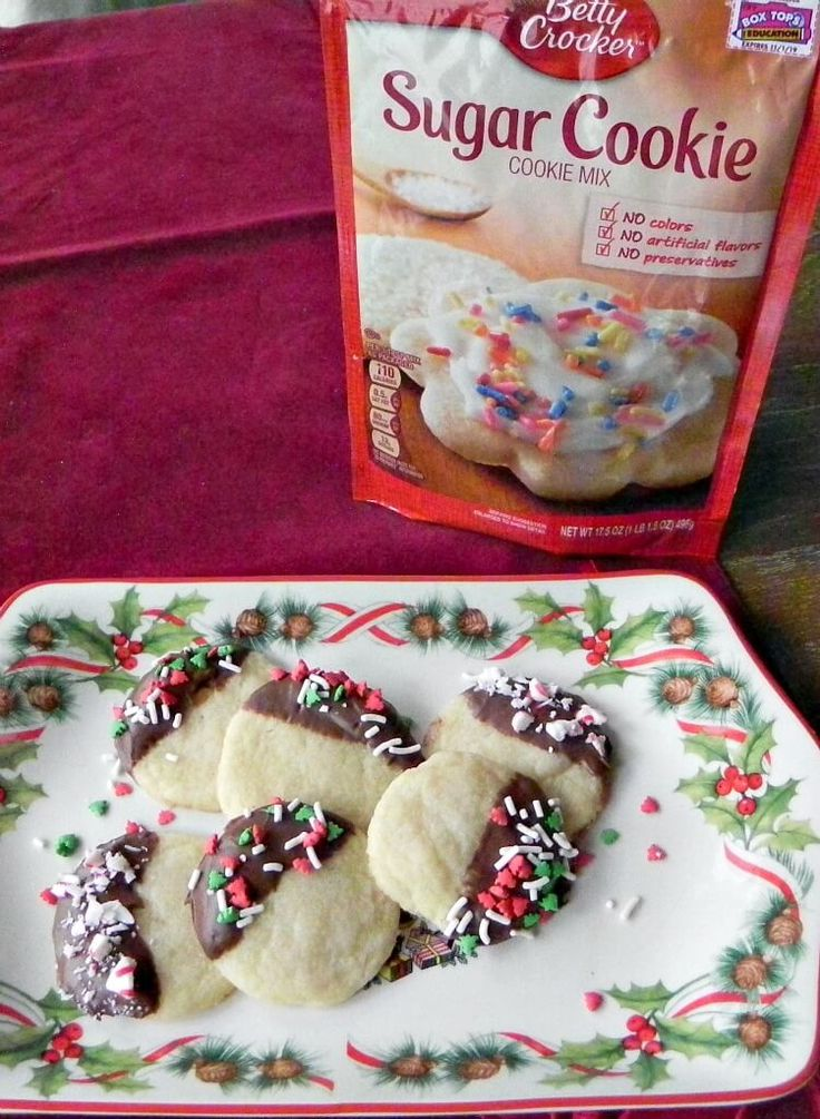 Chocolate Dipped Sugar Cookies using Betty Crocker Sugar Cookie Mix #ad #bakingwithbetty