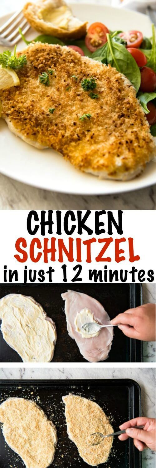 Chicken schnitzel made from scratch in just 12 minutes!!! All the flavour, most of the crunch, and a fraction of the calories of deep fried schnitzel. Learn how easy it is to make this!