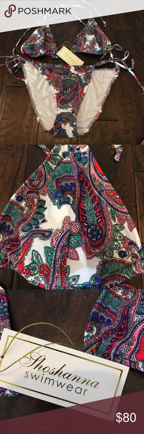 NWT Shoshanna Triangle bikini - L/ Top is D/DD Brand New with tags's Shoshanna triangle bikini features silver accents. Bottom is size large top is a D or DD cup Shoshanna Swim Bikinis