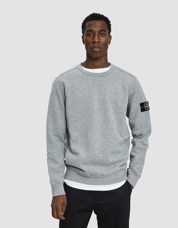 Stone Island Garment Dyed Crewneck Sweatshirt In Grey Crew Neck Sweatshirt Crewneck Outfit Garment Dye