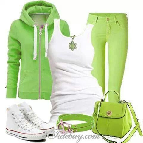 Lime green outfit.