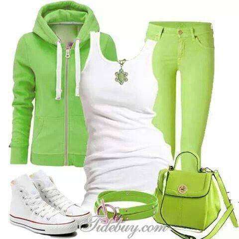 #26 ~ white tank, lime green hoodie, & lime green pants