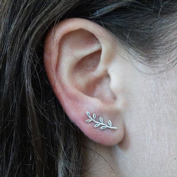 Bohemian ear climber Gifts for her Leaves earring Silver Accessories EFSF Silver leaf branch ear climber Silver earrings