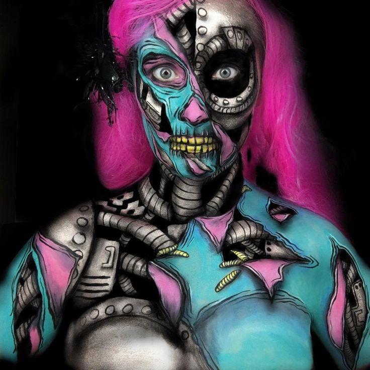 My Robot Zombie for #ignitedmixandmashup contest  Created using @mehronaustralia Paradise AQ (white, black, teal, sky, light Pink, yellow) @mehronaustralia Rose Metallic Powder and Mixing Liquid and @mehronaustralia black Starblend. Outlined with WolfeFx black.  #zombie #zombiemakeup #popartzombie #robotzombie #faceart #facepaint #bodyart #bodypaint #creativemakeup #mehronmakeup #mehron #mehrongirl #dupemag