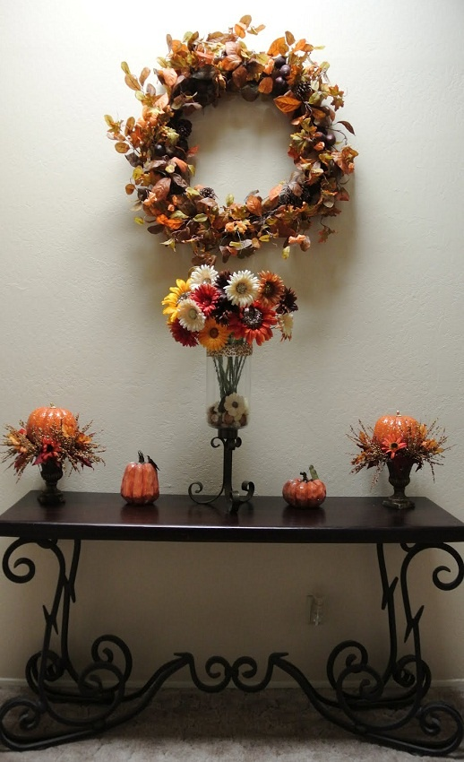 Fall Foyer Decor With Pier 1 Quentin Console Table And