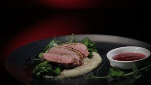 Tea smoked Duck with Fennel Purée and Cranberries