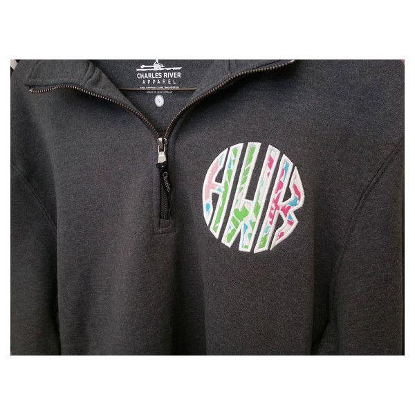 sweatshirt quarter zip lilly pulitzer monogram applique font natural      40  liked on polyvore