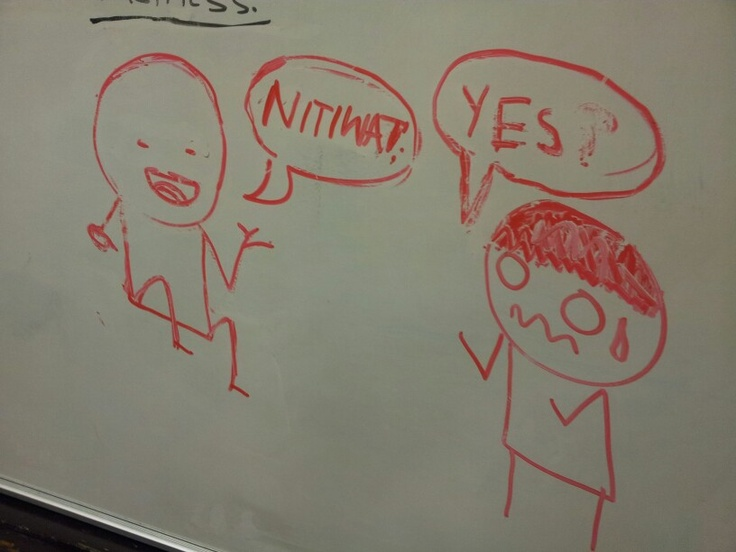 As I was leaving work I saw this drawing on the whiteboard which one of the students drew. It reminded me of Marx's theory of social class. The character on the right seems less in class than the other and.as the chracter on the right calls for the other, the one on the responds with anguish almost like a slave.