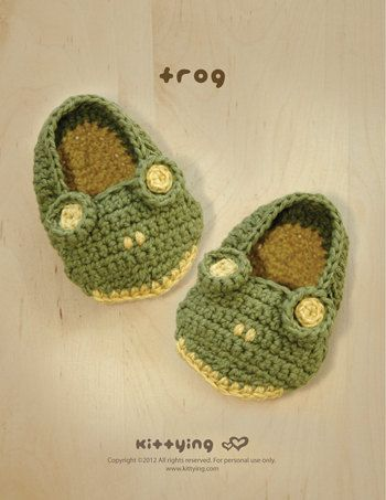 Frog Baby Booties Crochet PATTERN SYMBOL DIAGRAM pdf from Kittying.com