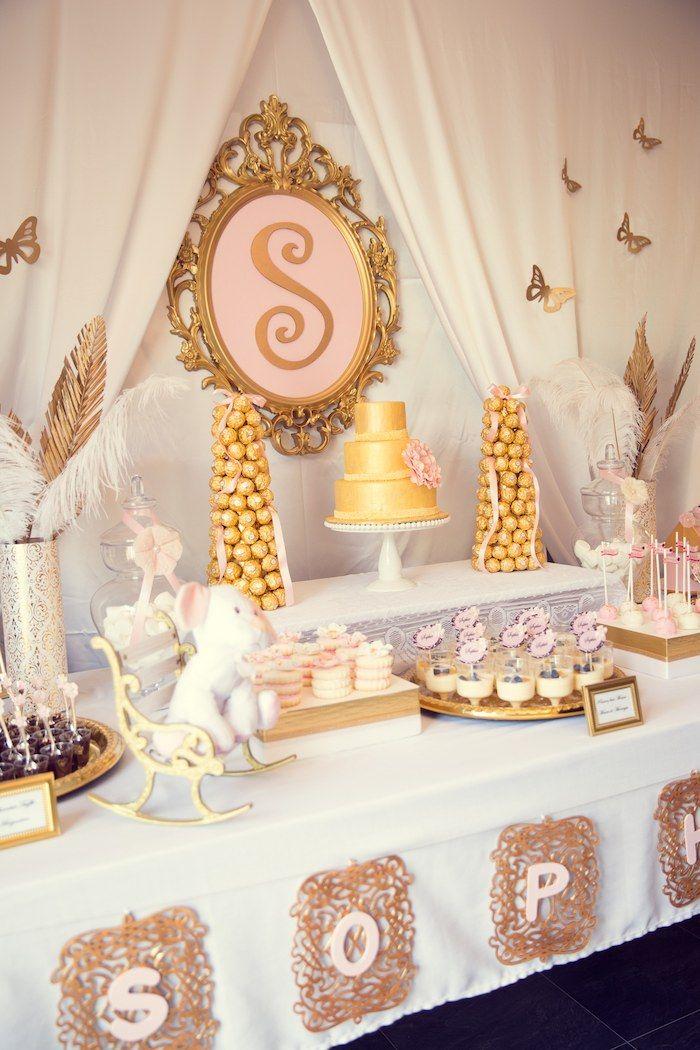 Pink and Gold baby shower via Kara's Party Ideas KarasPartyIdeas.com Cake, banner, desserts, favors, and more! #girlbabyshower #elegantbabyshower #pinkandgold (30)