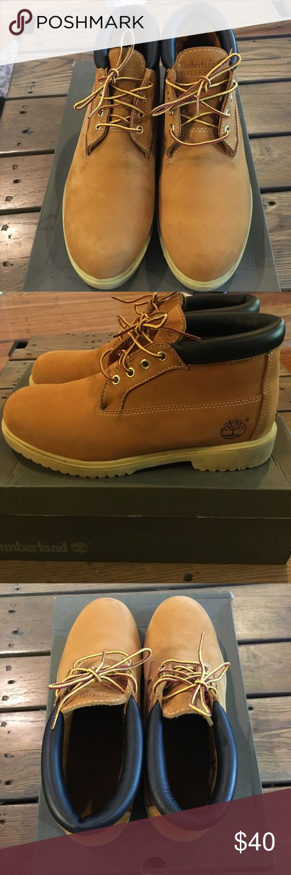 Men's Timberland Chukka Boots Good condition chukka wheat Timberlands. Please please Check pictures timberlands do have a few tiny stains and a scrape on the right boot. Timberland Shoes Chukka Boots