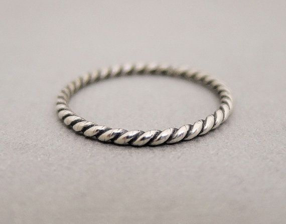 Silver Ring Twist Ring oxidized sterling silver ring by bluebirdss